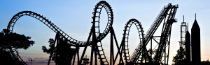 Silhouette of roller coaster; sunset